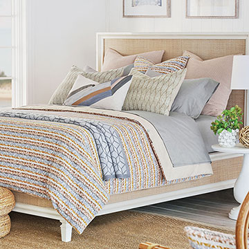 Hawley - ,terry bedding,pastel bedding,hand-painted pillow,pastel pink bedding,thom filicia bedding,terry pillow,terry duvet,pink and blue bedding,leaf embroidery,leaf pillow,