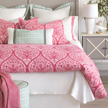 Adelle - percale,decorative pillow,pillow,accent pillow,throw pillow,bed pillow,sofa pillow,medallion,damask,jacquard,print,pattern,pink,bright,ogee,vector,luxury bedding,eastern accents,blue,green,yellow,duvet cover,fine linens,100% cotton,euro sham,king sham,standard sham,flat sheet,fitted sheet,sheet set,pillowcase,sheets,sheeting,italian fine linens,italian linens,egyptian cotton,colorful,boho,traditional,