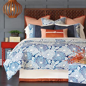 Indira - blue and orange bedding,blue coastal bedding,tropical style bedding,asian bedding,global inspired bedding,beach style,asian style,orange and blue,blue and white,blue floral bedding