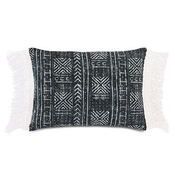 Seydou Fringe Decorative Pillow in Black