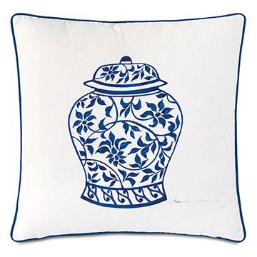 Porcelain Ginger Jar Decorative Pillow