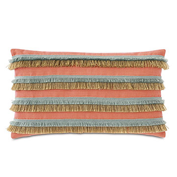 Nocatee Fringe Decorative Pillow in Carnation