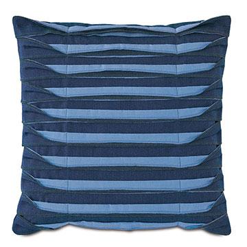 Plisse Pleated Decorative PIllow in Indigo