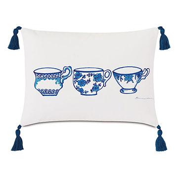 Porcelain Tea Cup Decorative Pillow