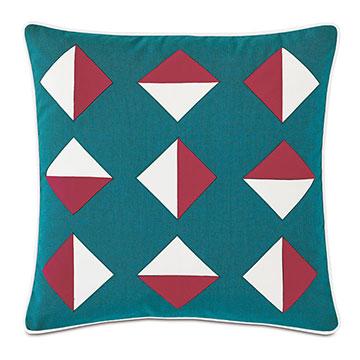 Kaleidoscope Applique Decorative Pillow in Teal