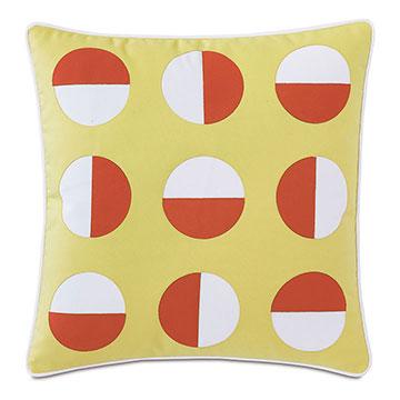 Kaleidoscope Applique Decorative Pillow in Lemon