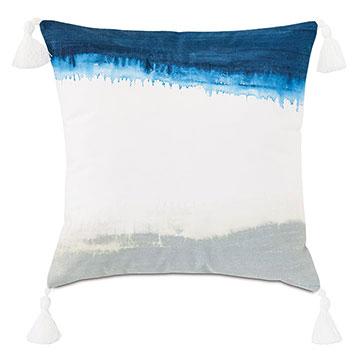 Talbot Handpainted Decorative Pillow in Indigo