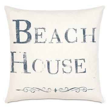 Beach Blockprinted Decorative Pillow