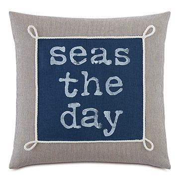 Bay Blockprinted Decorative Pillow in Seas