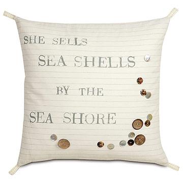 Shell Blockprinted Decorative Pillow