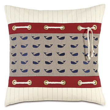 Lineate Whale Decorative Pillow