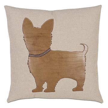 Yorkie Applique Decorative Pillow