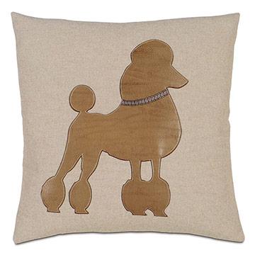 Poodle Applique Decorative Pillow