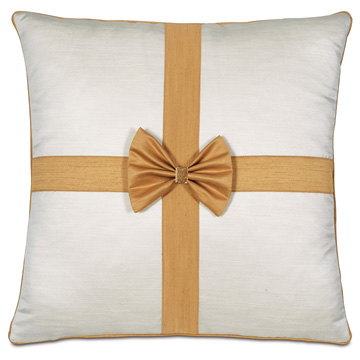 Gift Bow Decorative Pillow in Gold