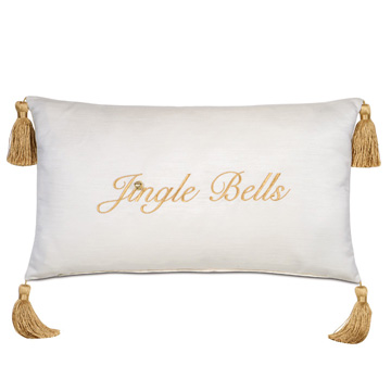 Christmas Embroidered Decorative Pillow in Gold