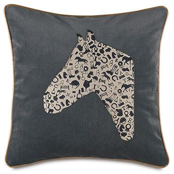 Arcaro Blockprinted Decorative Pillow in Racehorse