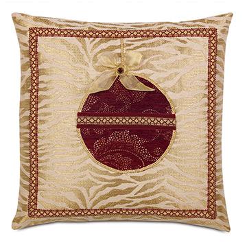 Noel Ornament Decorative Pillow in Gold