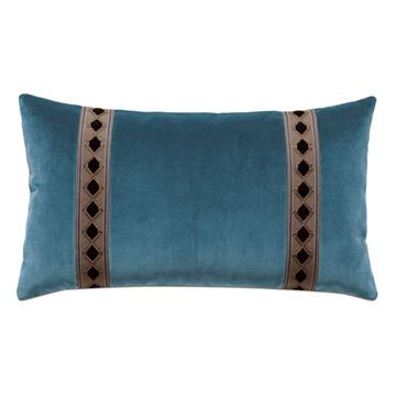 Rudy Velvet Bolster Pillow In Blue
