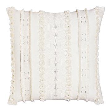 Justina Fringe Decorative Pillow In Ivory