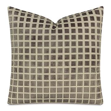 Stamp Cut Velvet Decorative Pillow In Stone