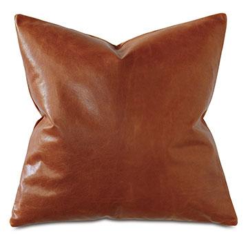 Tudor Leather Decorative Pillow in Cognac