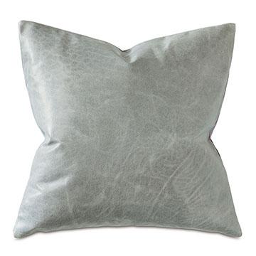 Tudor Leather Decorative Pillow in Dove