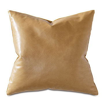 Tudor Leather Decorative Pillow In Gold