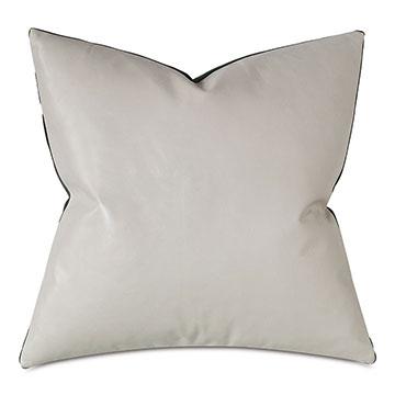 Tudor Leather Decorative Pillow In Vanilla