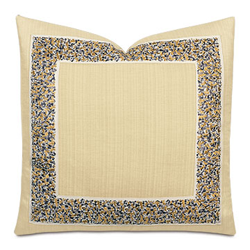 Folly Embroidered Border Decorative Pillow in Sand