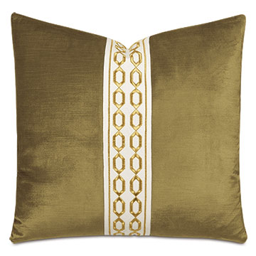 Lucerne Chain Tape Decorative Pillow in Olive