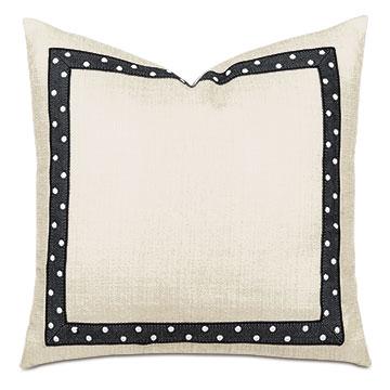 Salazar Pearl Nailhead Decorative Pillow in Cream