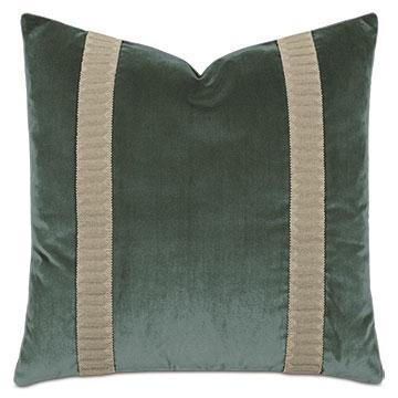 Uma Metallic Border Decorative Pillow in Pine