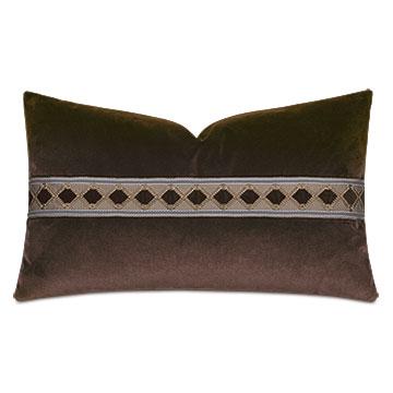Uma Diamond Border Decorative Pillow in Brown