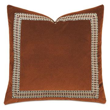 Uma Multicolored Border Decorative Pillow  in Orange