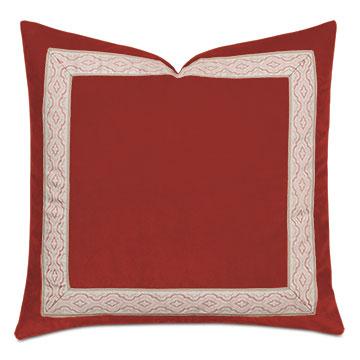 Uma Ogee Border Decorative Pillow  in Rust