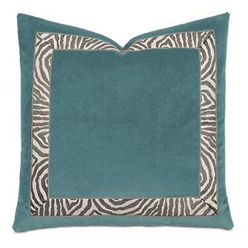 Uma Zebra Border Decorative Pillow in Teal