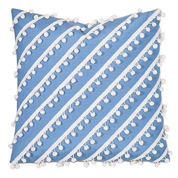 Cove Ball Trim Decorative Pillow in Blue
