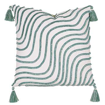 Seaspray Wavy Fringe Decorative Pillow