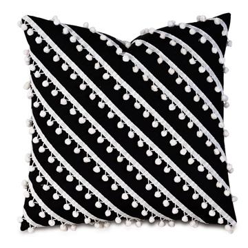 Cove Ball Trim Decorative Pillow in Black