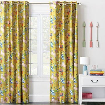 Hullabaloo Grommet Curtain Panel In Lemon