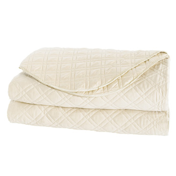 Coperta Diamond Quilted Coverlet in Ivory