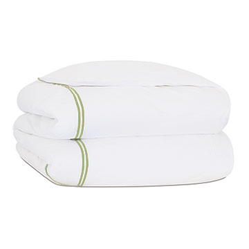 Enzo Satin Stitch Duvet Cover in Lime