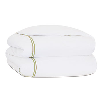 Enzo Satin Stitch Duvet Cover In Pear