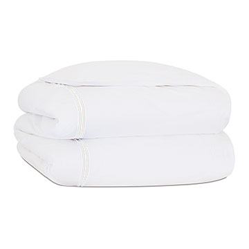 Enzo Satin Stitch Duvet Cover in White