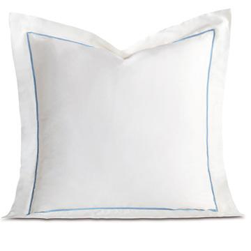 Linea Velvet Ribbon Euro Sham In White & Azure