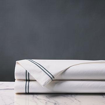 Enzo Satin Stitch Flat Sheet in Slate
