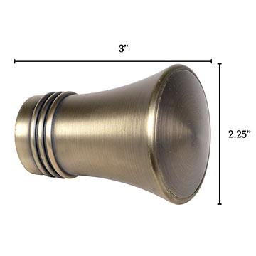 Metallo Brushed Brass Trumpet Finial Pair