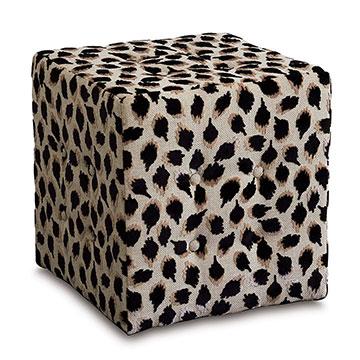 Ocelot Cube Ottoman in Black