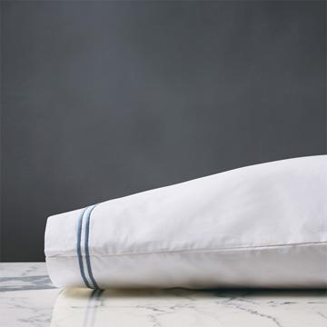 Enzo White/Ocean Pillowcase
