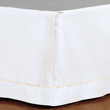 Linea Velvet Ribbon Bed Skirt In White & Ecru